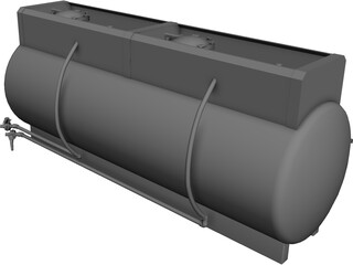Truck Mount Fiberglass Chemical Tank CAD 3D Model