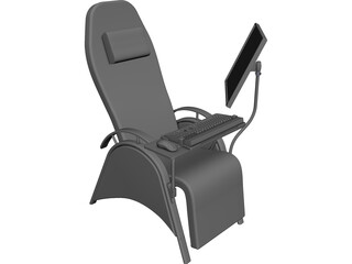 Chair with Workstation CAD 3D Model