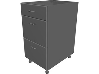 3 Drawer Cabinet CAD 3D Model