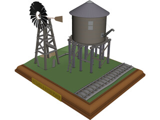 Windmill and Water Tower 3D Model