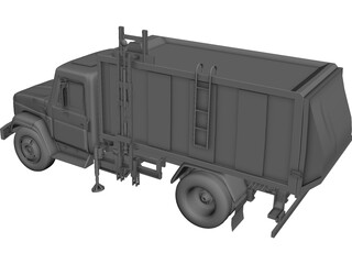 GAZ-3309 Garbage Truck 3D Model