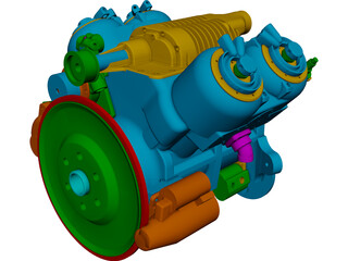Engine V4 CAD 3D Model