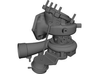 Turbocharger Diesel Engine 3D Model