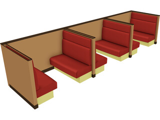 Booth Seating 3D Model