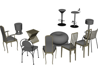 Vietnam Chairs Set 3D Model