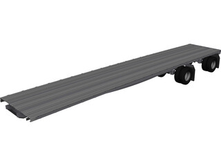 Semi Flat Bed Trailer 45 Foot CAD 3D Model
