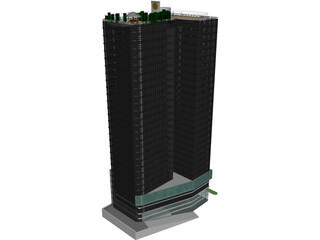 Tower with Skybar 3D Model