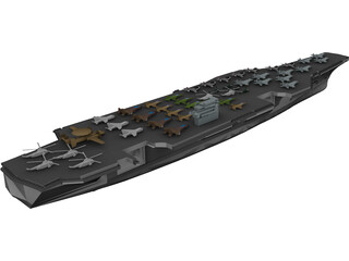 Military Ship with Airplanes 3D Model