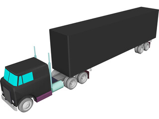 International Complete Trailer Truck CAD 3D Model