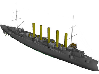 Askold Russian Cruiser (1900) 3D Model