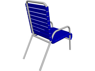 Beach Chair with Slats CAD 3D Model