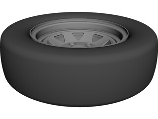 Trailer Wheel 14 Inch CAD 3D Model