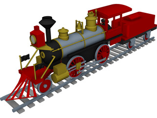 Toy Steam Locomotive with Tender 3D Model