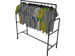 Shirts on Wardrobe 3D Model