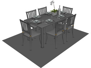 Table Set Dinner with Flower 3D Model
