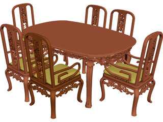 Table Dinner Home Style 3D Model 3D Preview