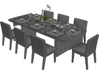 Table Dinner Contemporary 3D Model