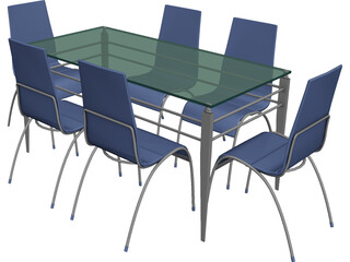 Table Steel Plastic and Glass with Chairs 3D Model