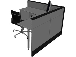 Office Cubicle 3D Model