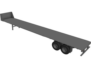 Flat Bed Trailer CAD 3D Model