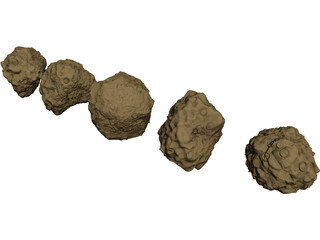 Asteroid Set 3D Model 3D Preview