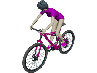 Woman on Bicycle 3D Model