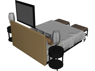 Fancy Couples Bed 3D Model