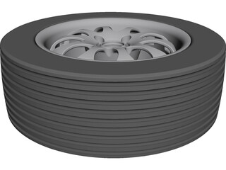 Tyre and Rim CAD 3D Model