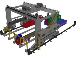 Container Loader Port 3D Model