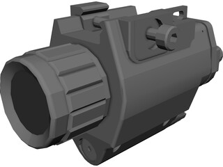 Tactical Light with Laser CAD 3D Model