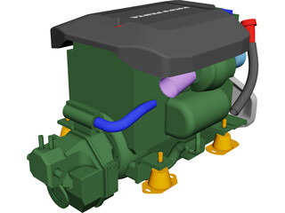 Volvo Penta D3 Marine Engine CAD 3D Model