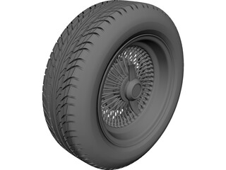 Daytona Wire Rim and Tyre 3D Model