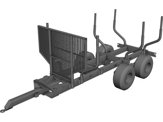 Log Trailer CAD 3D Model