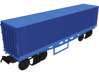 Container on Train truck 3D Model
