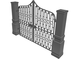 Driveway Gate 3D Model 3D Preview