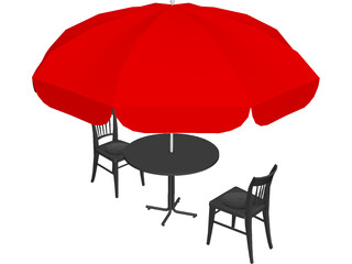 Cafe Table Set 3D Model