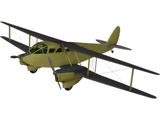 de Havilland D.H.89 Dragon Rapide 3D Model