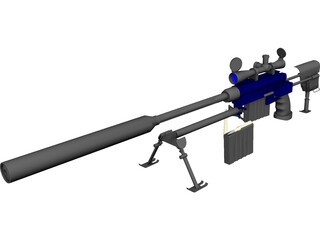 50 Cal Rifle with Suppressor 3D Model