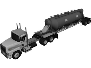 Mack with Powder Trailer 3D Model