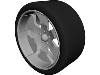 "Rim 23"" Sportrux Sicker 6 with Tire 3D Model"