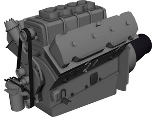 Engine Race Block Supercharged 3D Model