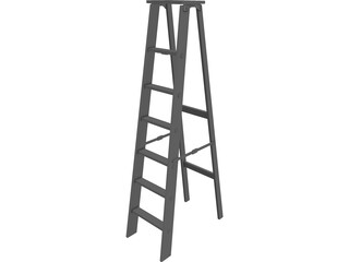 Wooden Step Ladder 3D Model