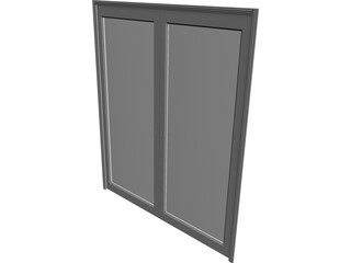 Door Double Sliding Glass 3D Model