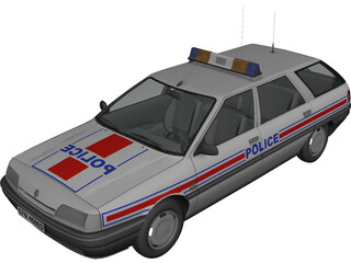 Renault 21 Nevada Police 3D Model 3D Preview