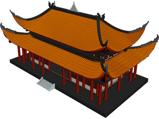 Attic Chinese Building 3D Model