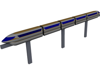 Monorail Train CAD 3D Model