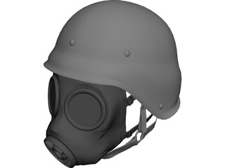 Gasmask with Helmet 3D Model