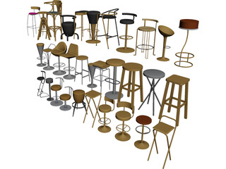 Bar Chairs Collection 3D Model