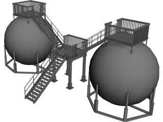 Oil Storage Tanks 3D Model