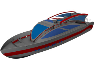 Super Yacht 34M CAD 3D Model